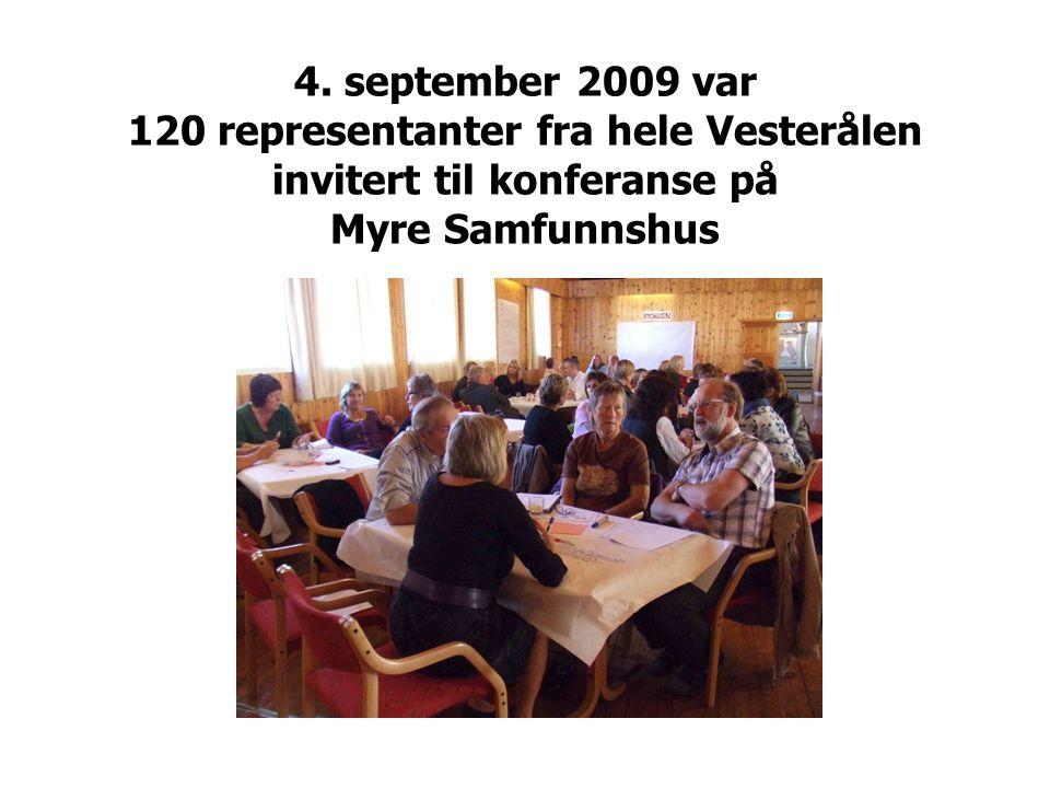 4. september 2009 var 120 representanter fra hele Vesterålen invitert til konferanse på Myre Samfunnshus