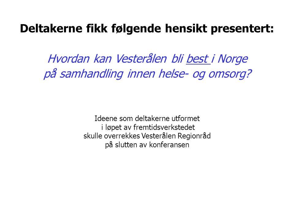 Deltakerne fikk følgende hensikt presentert: Hvordan kan Vesterålen bli best i Norge på samhandling innen helse- og omsorg? Ideene som deltakerne utfo