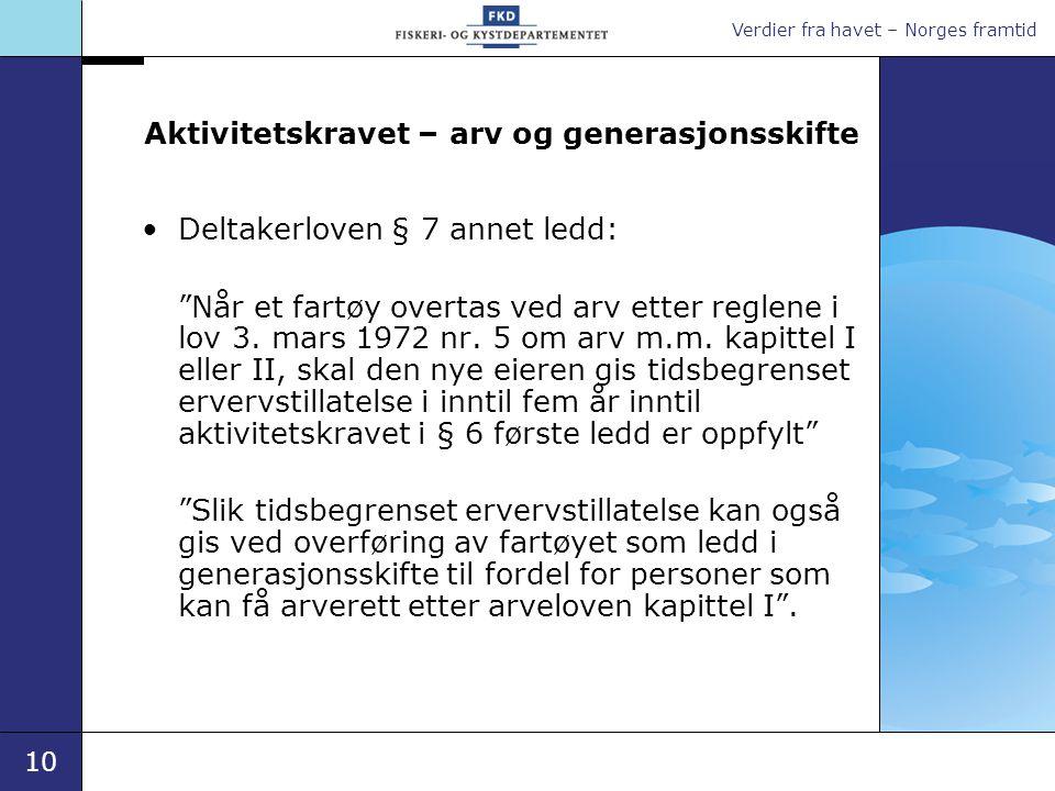 """Verdier fra havet – Norges framtid 10 Aktivitetskravet – arv og generasjonsskifte •Deltakerloven § 7 annet ledd: """"Når et fartøy overtas ved arv etter"""