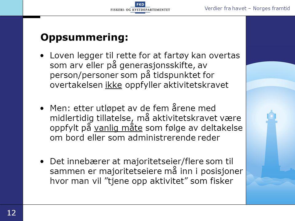 Verdier fra havet – Norges framtid 12 Oppsummering: •Loven legger til rette for at fartøy kan overtas som arv eller på generasjonsskifte, av person/pe