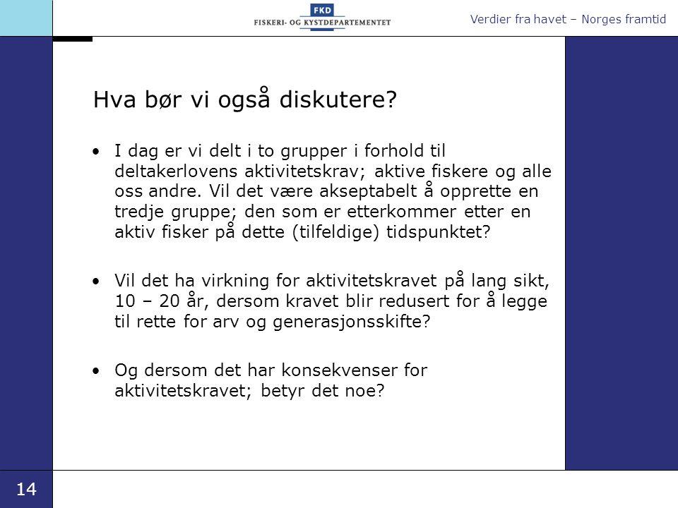 Verdier fra havet – Norges framtid 14 Hva bør vi også diskutere? •I dag er vi delt i to grupper i forhold til deltakerlovens aktivitetskrav; aktive fi