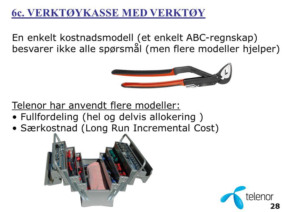 28 En enkelt kostnadsmodell (et enkelt ABC-regnskap) besvarer ikke alle spørsmål (men flere modeller hjelper) Telenor har anvendt flere modeller: • Fullfordeling (hel og delvis allokering ) • Særkostnad (Long Run Incremental Cost) 6c.