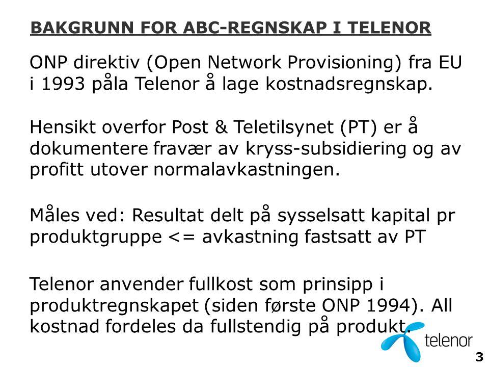 3 ONP direktiv (Open Network Provisioning) fra EU i 1993 påla Telenor å lage kostnadsregnskap.