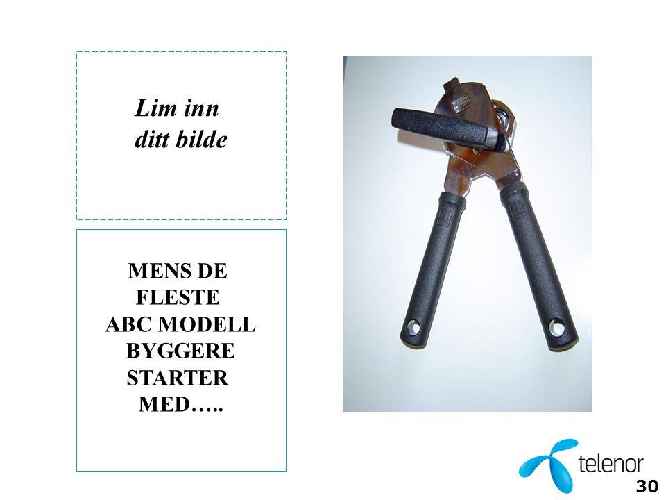 30 MENS DE FLESTE ABC MODELL BYGGERE STARTER MED….. Lim inn ditt bilde