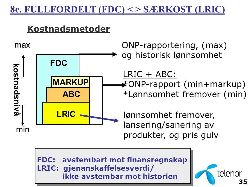 35 Kostnadsmetoder LRIC FDC kostnadsnivå ONP-rapportering, (max) og historisk lønnsomhet lønnsomhet fremover, lansering/sanering av produkter, og pris gulv LRIC + ABC: *ONP-rapport (min+markup) *Lønnsomhet fremover (min) max min FDC: avstembart mot finansregnskap LRIC: gjenanskaffelsesverdi/ ikke avstembar mot historien 8c.
