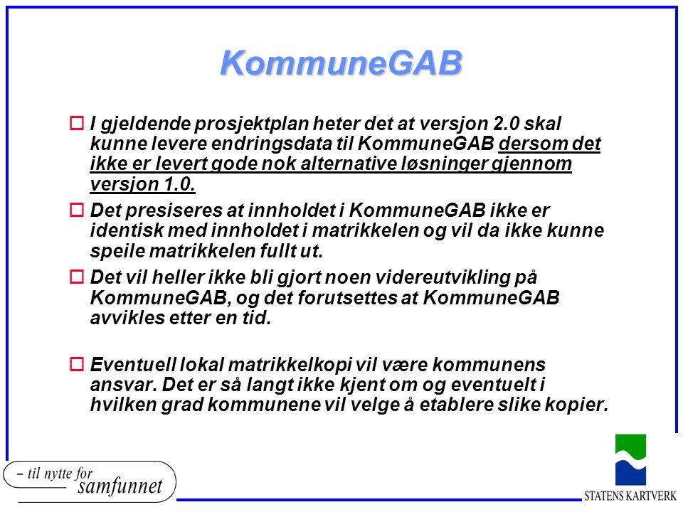 KommuneGAB oI gjeldende prosjektplan heter det at versjon 2.0 skal kunne levere endringsdata til KommuneGAB dersom det ikke er levert gode nok alternative løsninger gjennom versjon 1.0.