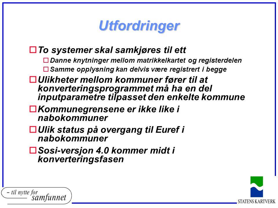 Utfordringer oTo systemer skal samkjøres til ett oDanne knytninger mellom matrikkelkartet og registerdelen oSamme opplysning kan delvis være registrert i begge oUlikheter mellom kommuner fører til at konverteringsprogrammet må ha en del inputparametre tilpasset den enkelte kommune oKommunegrensene er ikke like i nabokommuner oUlik status på overgang til Euref i nabokommuner oSosi-versjon 4.0 kommer midt i konverteringsfasen