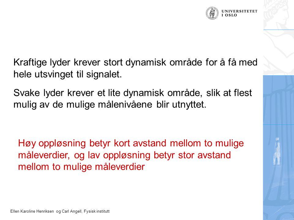 Ellen Karoline Henriksen og Carl Angell, Fysisk institutt Kraftige lyder krever stort dynamisk område for å få med hele utsvinget til signalet. Svake