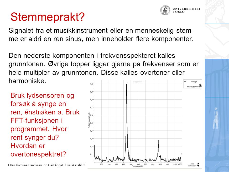Ellen Karoline Henriksen og Carl Angell, Fysisk institutt Stemmeprakt? Signalet fra et musikkinstrument eller en menneskelig stem- me er aldri en ren