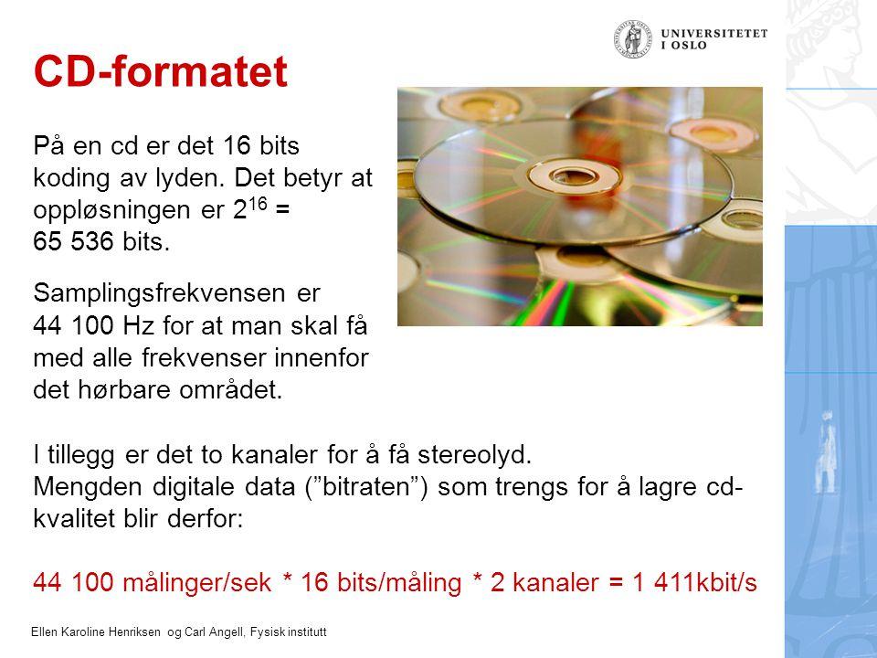 Ellen Karoline Henriksen og Carl Angell, Fysisk institutt CD-formatet På en cd er det 16 bits koding av lyden. Det betyr at oppløsningen er 2 16 = 65