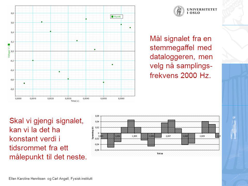 Ellen Karoline Henriksen og Carl Angell, Fysisk institutt Mål signalet fra en stemmegaffel med dataloggeren, men velg nå samplings- frekvens 2000 Hz.