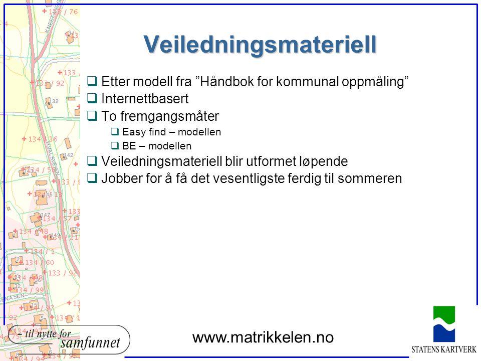 """Veiledningsmateriell qEtter modell fra """"Håndbok for kommunal oppmåling"""" qInternettbasert qTo fremgangsmåter qEasy find – modellen qBE – modellen qVeil"""