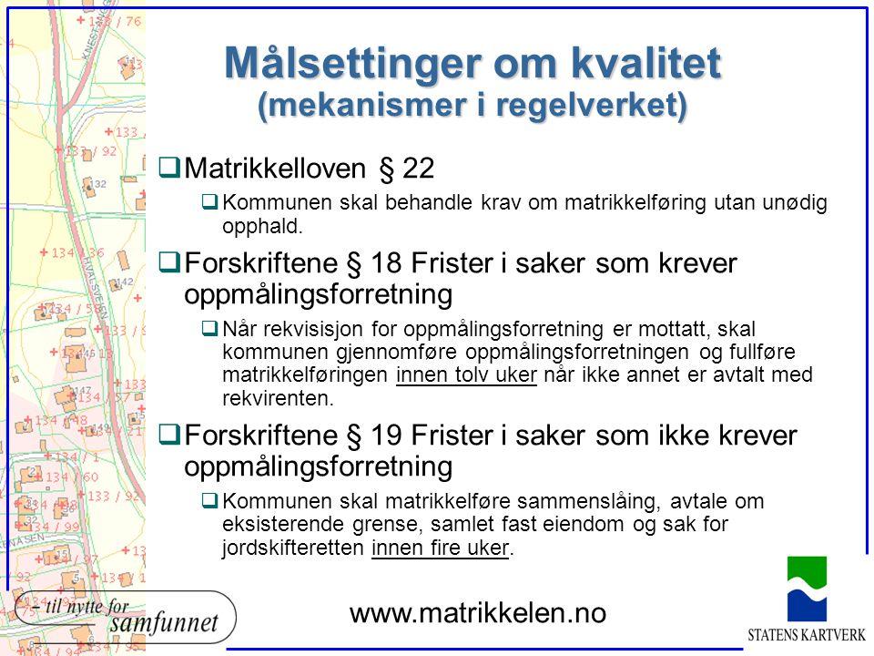 Målsettinger om kvalitet (mekanismer i regelverket) qMatrikkelloven § 22 qKommunen skal behandle krav om matrikkelføring utan unødig opphald. qForskri