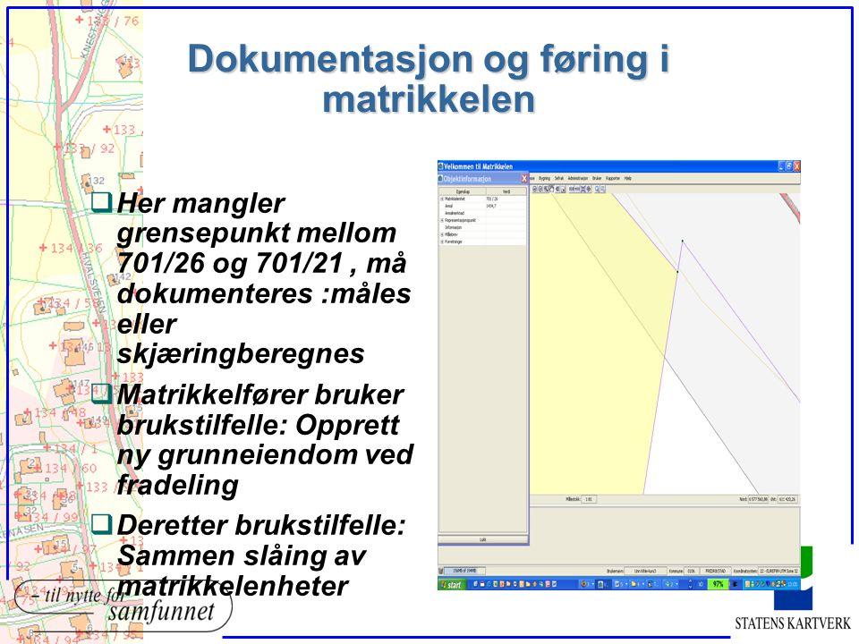 Dokumentasjon og føring i matrikkelen qHer mangler grensepunkt mellom 701/26 og 701/21, må dokumenteres :måles eller skjæringberegnes qMatrikkelfører