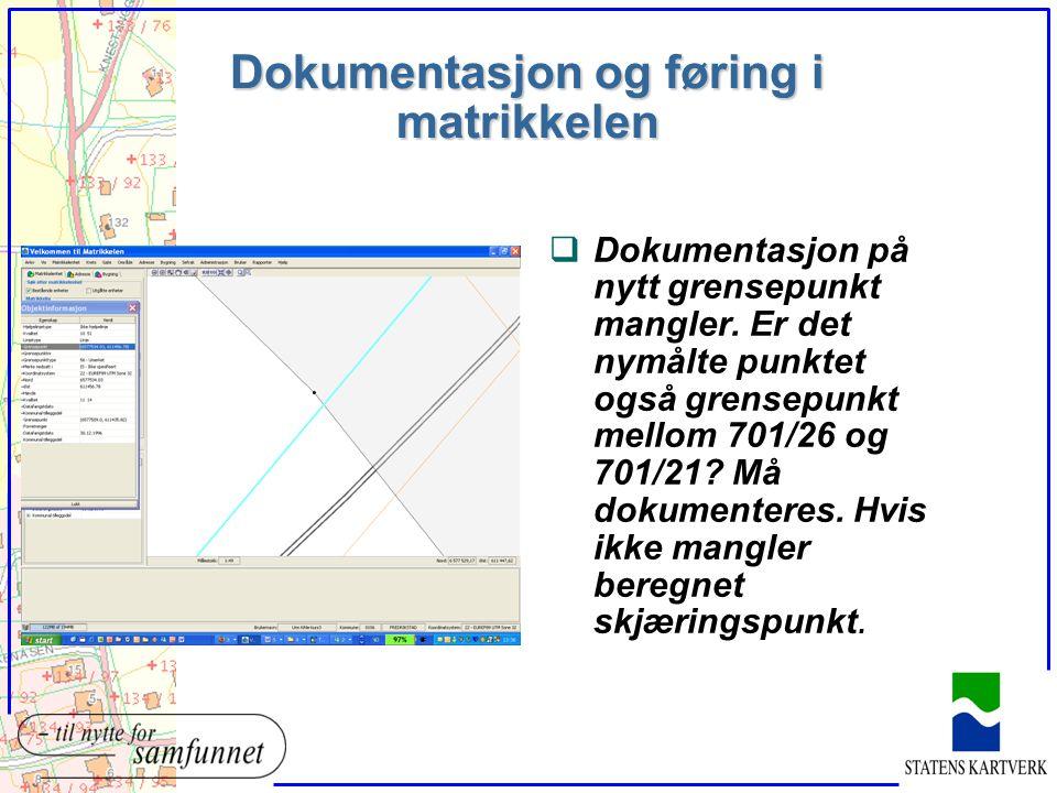 Dokumentasjon og føring i matrikkelen qDokumentasjon på nytt grensepunkt mangler. Er det nymålte punktet også grensepunkt mellom 701/26 og 701/21? Må