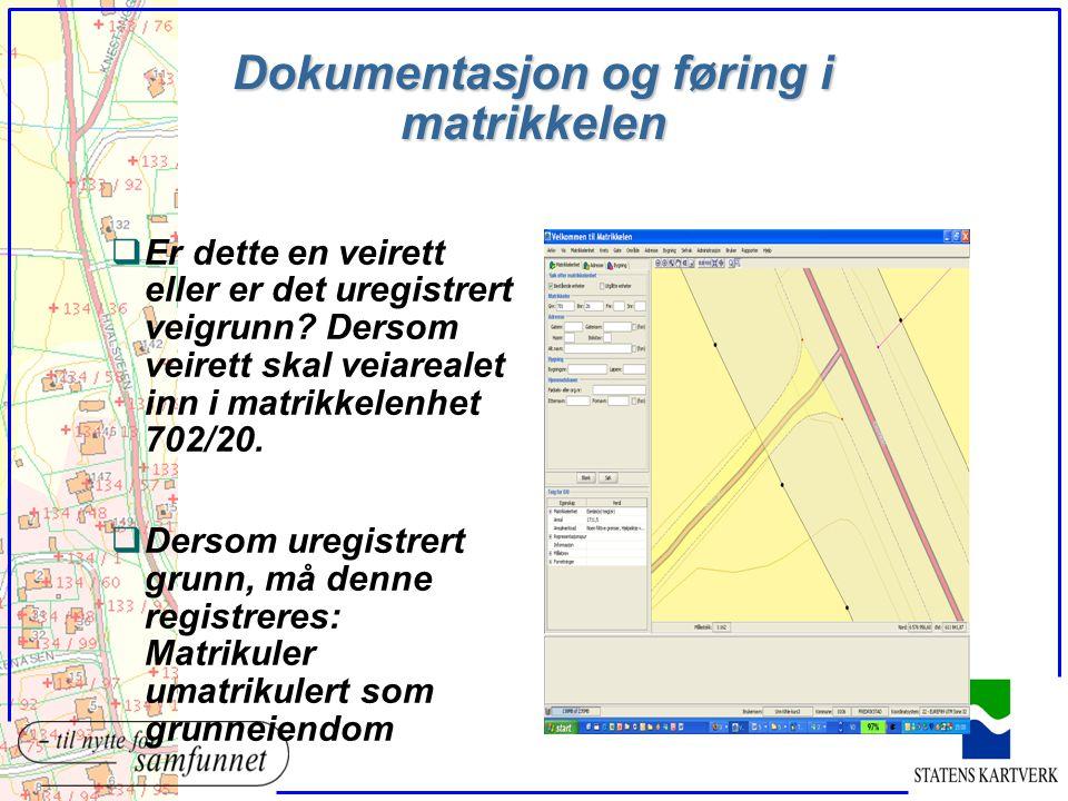 Dokumentasjon og føring i matrikkelen qEr dette en veirett eller er det uregistrert veigrunn? Dersom veirett skal veiarealet inn i matrikkelenhet 702/