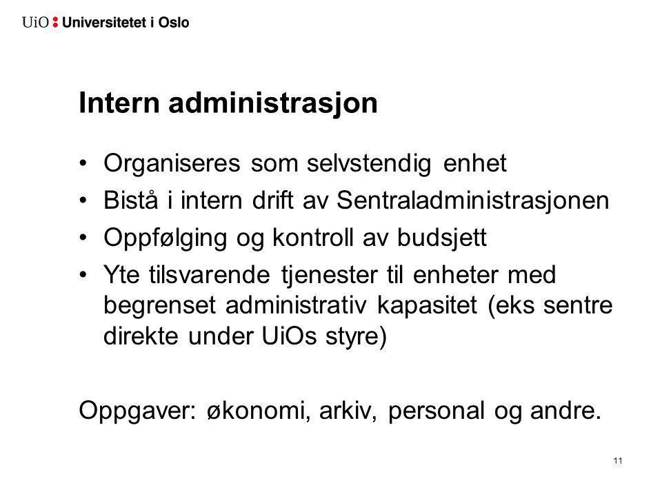 Intern administrasjon •Organiseres som selvstendig enhet •Bistå i intern drift av Sentraladministrasjonen •Oppfølging og kontroll av budsjett •Yte til