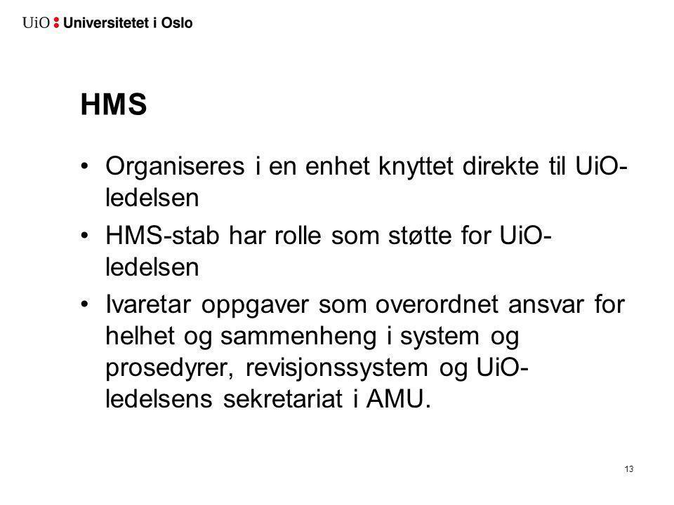 HMS •Organiseres i en enhet knyttet direkte til UiO- ledelsen •HMS-stab har rolle som støtte for UiO- ledelsen •Ivaretar oppgaver som overordnet ansva