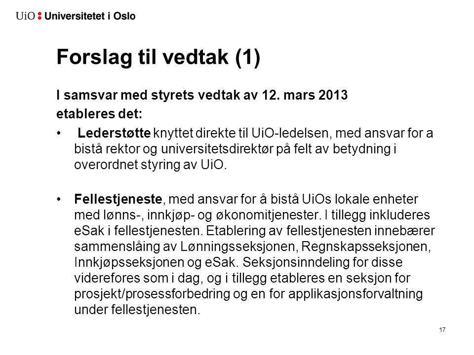 Forslag til vedtak (1) I samsvar med styrets vedtak av 12. mars 2013 etableres det: • Lederstøtte knyttet direkte til UiO-ledelsen, med ansvar for a b