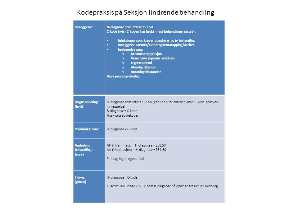 Innleggelse: H-diagnose som oftest Z51.50 C-kode hvis (C-koden har brukt mest behandlingsressurs):  Infeksjoner som krever utredning og iv behandling  Innleggelse stenter/kateter/pleuratapping/ascites  Innleggelse pga: o Medullakompresjon o Vena cava superior syndrom o Hypercalcemi o Alvorlig delirium o Blødningstilstander Husk prosedyrekoder.