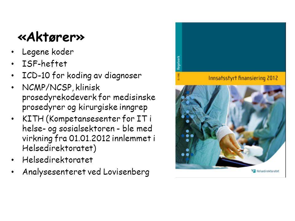 «Aktører» • Legene koder • ISF-heftet • ICD-10 for koding av diagnoser • NCMP/NCSP, klinisk prosedyrekodeverk for medisinske prosedyrer og kirurgiske inngrep • KITH (Kompetansesenter for IT i helse- og sosialsektoren - ble med virkning fra 01.01.2012 innlemmet i Helsedirektoratet) • Helsedirektoratet • Analysesenteret ved Lovisenberg