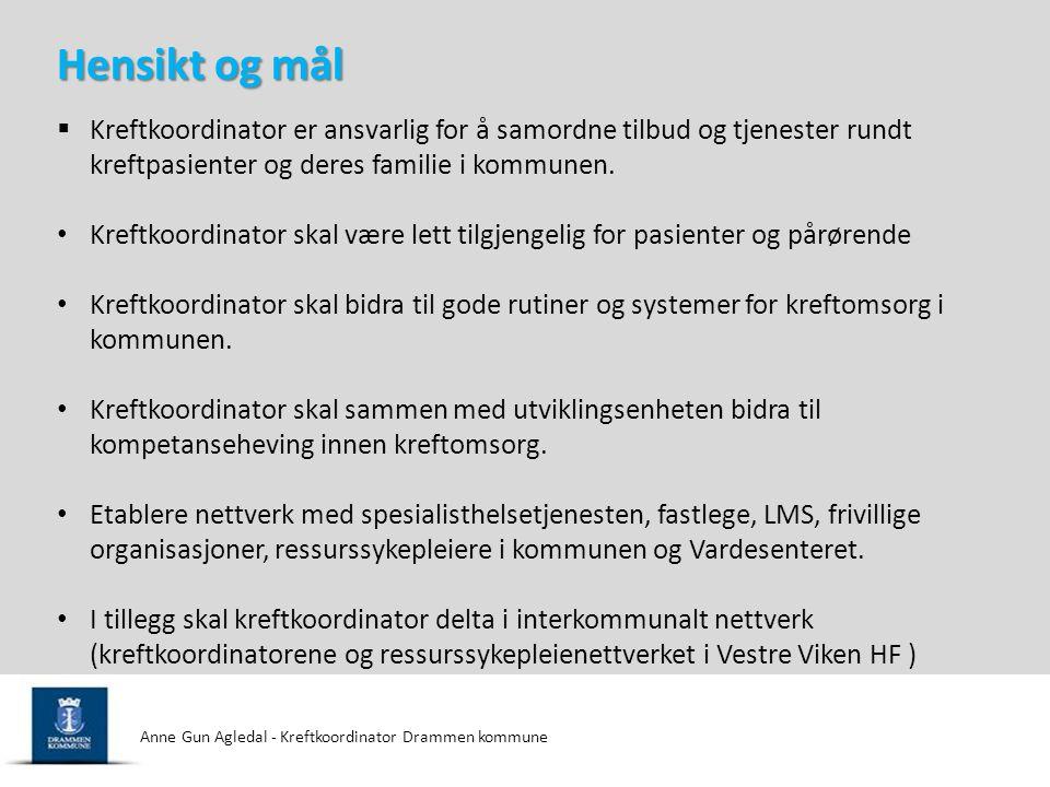 Anne Gun Agledal - Kreftkoordinator Drammen kommune Kreftforeningens mål ved å bevilge penger til Kreftkoordinatorstillingene er å etablere et godt koordinert tilbud på pasientens hjemsted til rett tid fra de riktige personene og instansene.