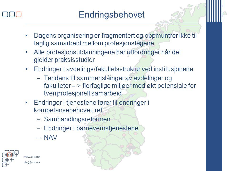 www.uhr.no uhr@uhr.no Endringsbehovet •Dagens organisering er fragmentert og oppmuntrer ikke til faglig samarbeid mellom profesjonsfagene •Alle profes