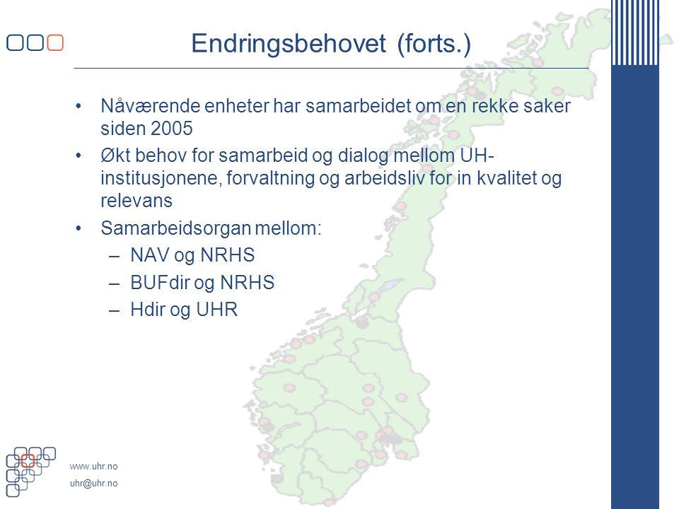 www.uhr.no uhr@uhr.no Endringsbehovet (forts.) •Nåværende enheter har samarbeidet om en rekke saker siden 2005 •Økt behov for samarbeid og dialog mellom UH- institusjonene, forvaltning og arbeidsliv for in kvalitet og relevans •Samarbeidsorgan mellom: –NAV og NRHS –BUFdir og NRHS –Hdir og UHR