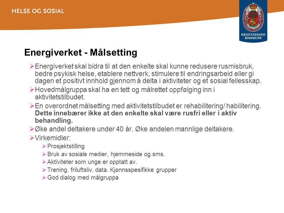 Oversikt 2012 •121 Deltakere er kartlagt ved Energiverket og Bålplassen.