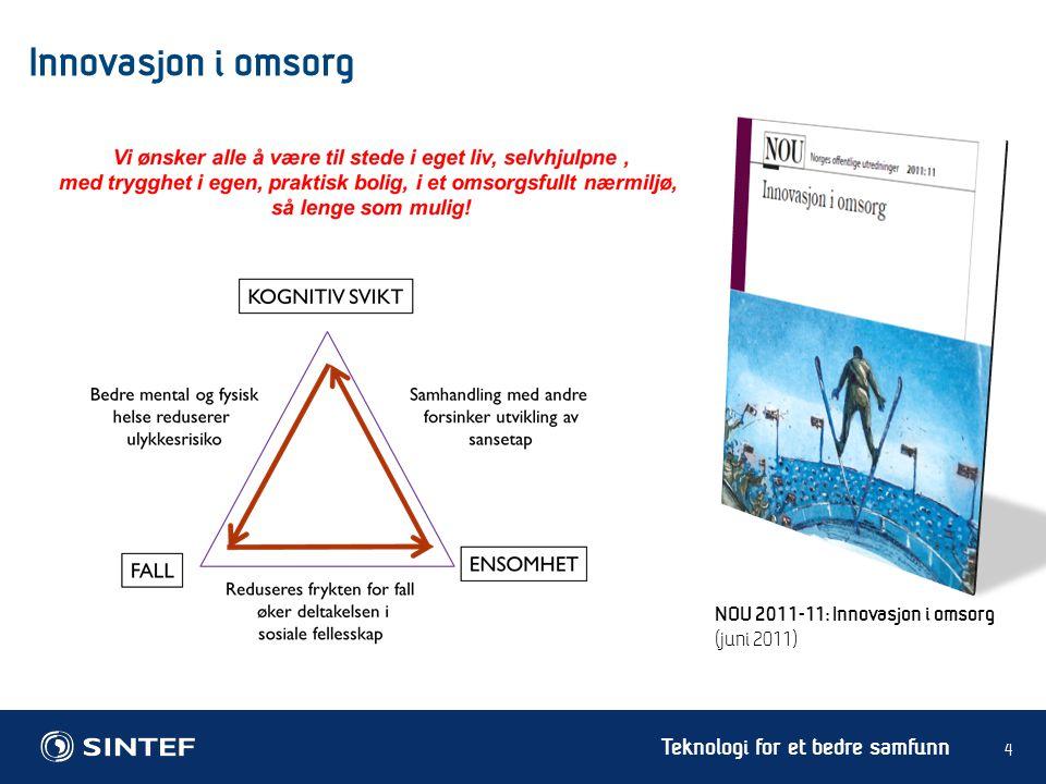 Teknologi for et bedre samfunn 5 Innovasjon i omsorg NOU 2011-11: Innovasjon i omsorg (juni 2011) Teknoplan 2015: Implementer trygghetspakker i stor skala