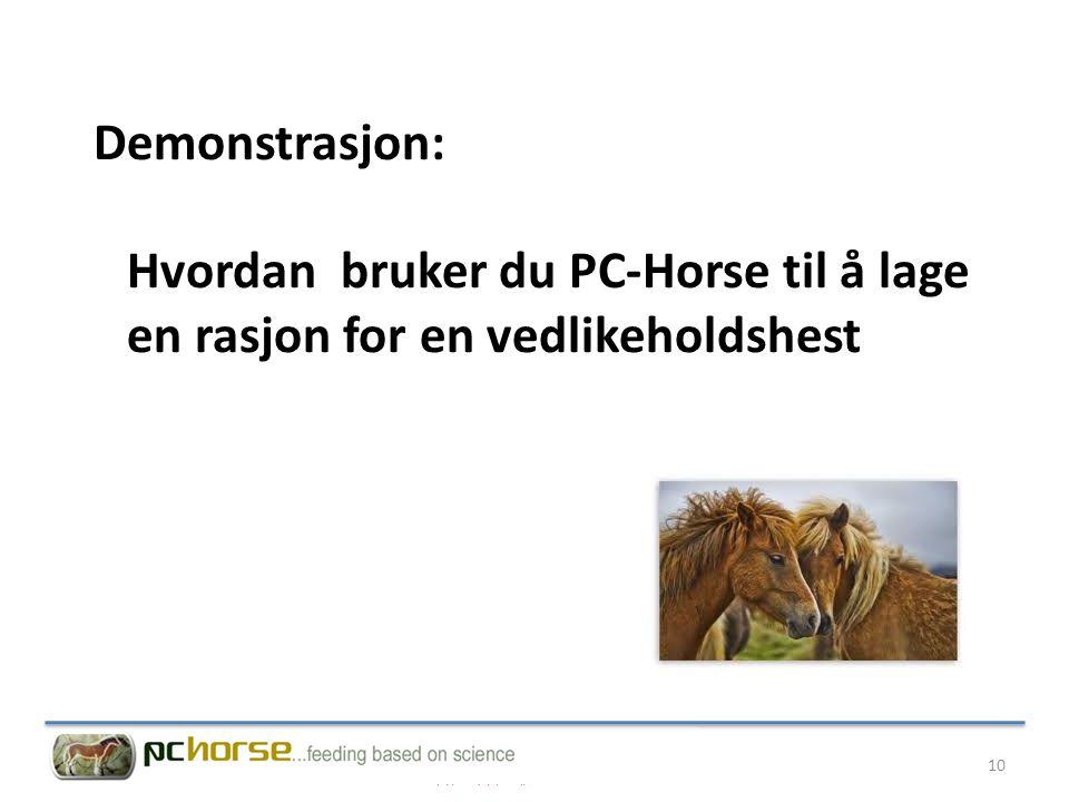 Demonstrasjon: Hvordan bruker du PC-Horse til å lage en rasjon for en vedlikeholdshest 10