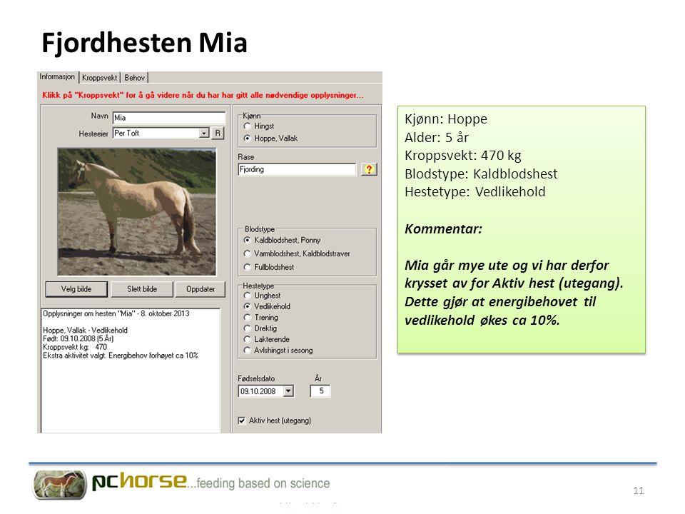 Kjønn: Hoppe Alder: 5 år Kroppsvekt: 470 kg Blodstype: Kaldblodshest Hestetype: Vedlikehold Kommentar: Mia går mye ute og vi har derfor krysset av for