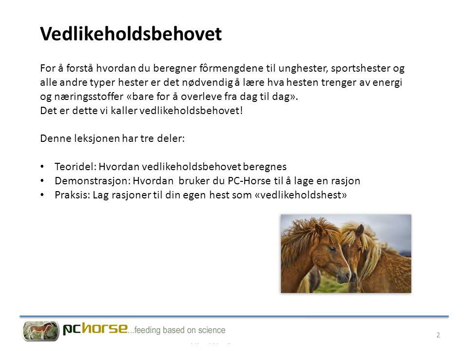 Læringsmål 1Du skal forstå hva som menes med uttrykket «vedlikeholdsbehov» 2Du skal kunne beregne vedlikeholdsbehovet for energi og protein (fordøyelig råprotein) til hester av forskjellig type og kjønn.
