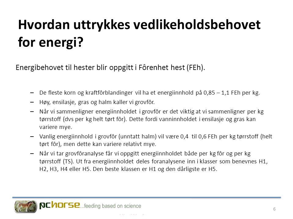 Hvordan beregnes vedlikeholdsbehovet for energi.