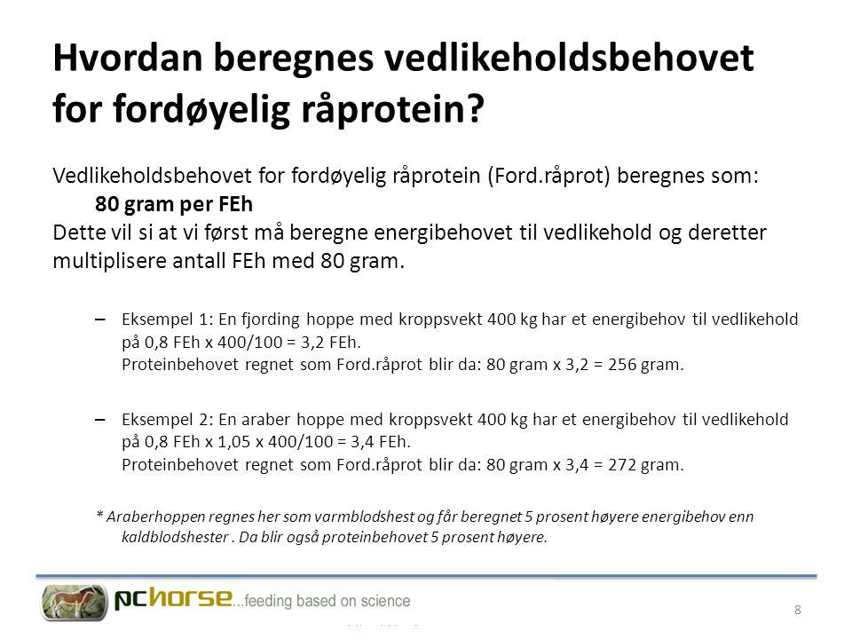 Hvordan beregnes vedlikeholdsbehovet for fordøyelig råprotein? Vedlikeholdsbehovet for fordøyelig råprotein (Ford.råprot) beregnes som: 80 gram per FE