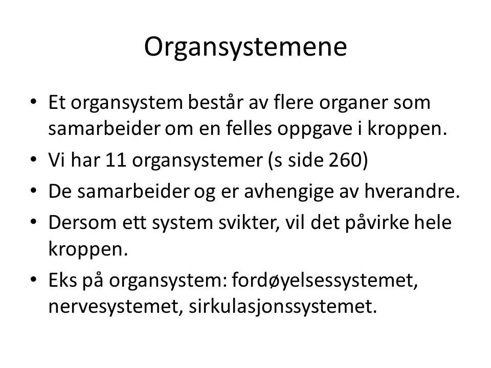 Organsystemene • Et organsystem består av flere organer som samarbeider om en felles oppgave i kroppen. • Vi har 11 organsystemer (s side 260) • De sa
