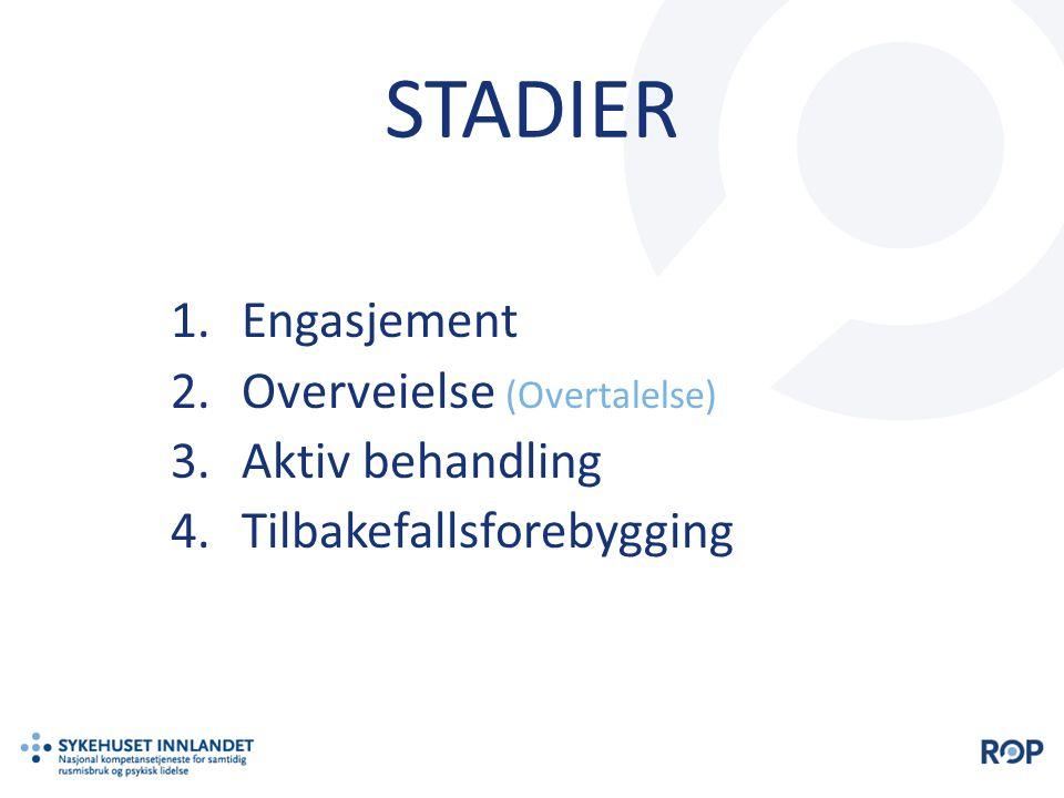 STADIER 1.Engasjement 2.Overveielse (Overtalelse) 3.Aktiv behandling 4.Tilbakefallsforebygging