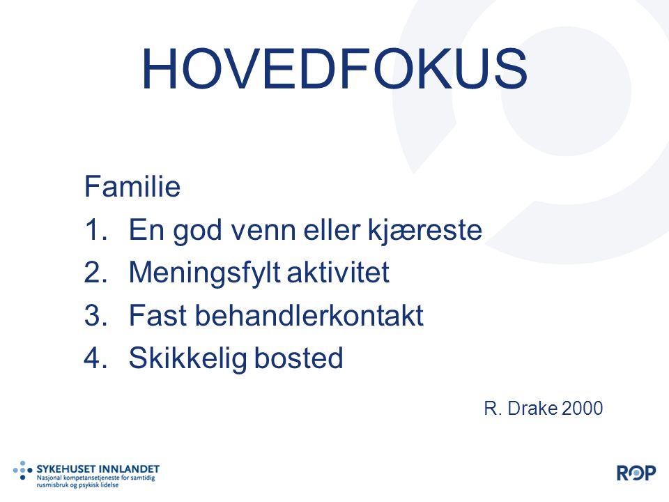 HOVEDFOKUS Familie 1.En god venn eller kjæreste 2.Meningsfylt aktivitet 3.Fast behandlerkontakt 4.Skikkelig bosted R. Drake 2000