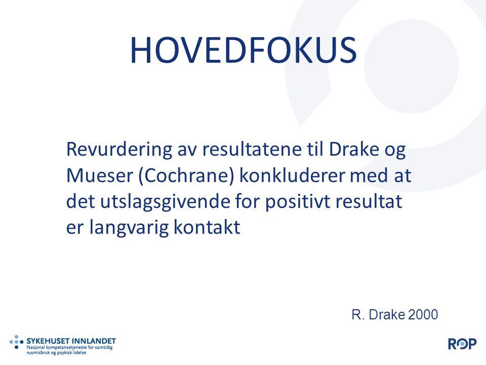 HOVEDFOKUS Revurdering av resultatene til Drake og Mueser (Cochrane) konkluderer med at det utslagsgivende for positivt resultat er langvarig kontakt
