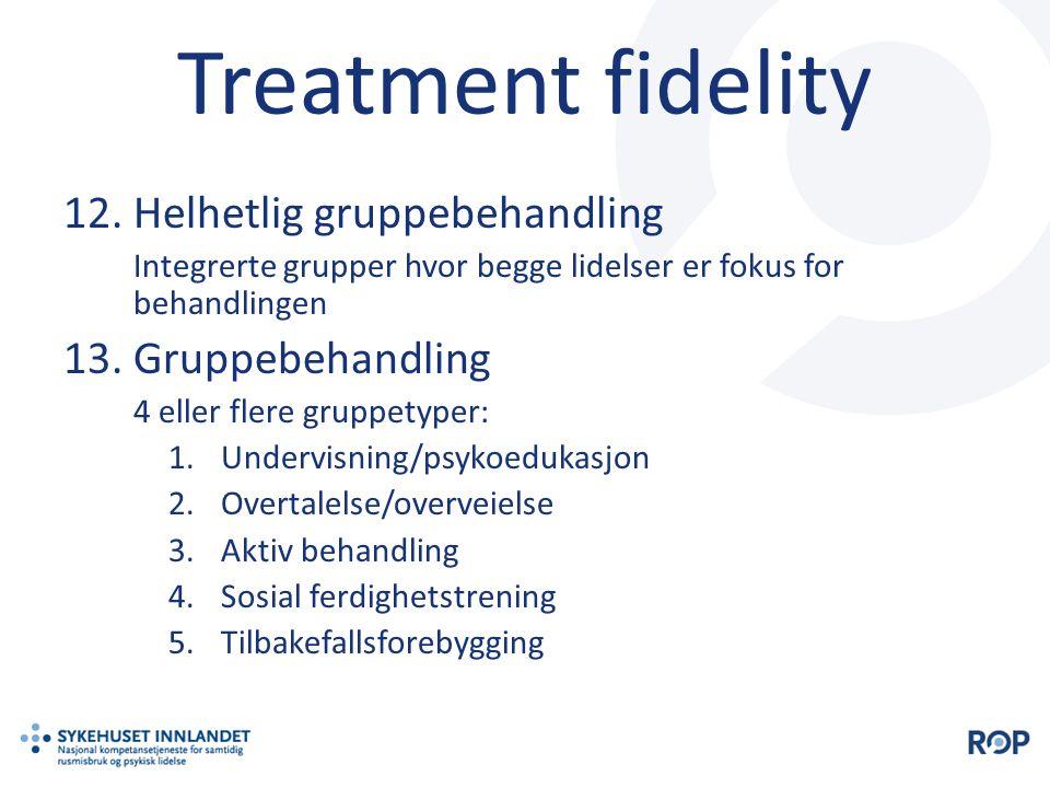Treatment fidelity 12.Helhetlig gruppebehandling Integrerte grupper hvor begge lidelser er fokus for behandlingen 13.Gruppebehandling 4 eller flere gr