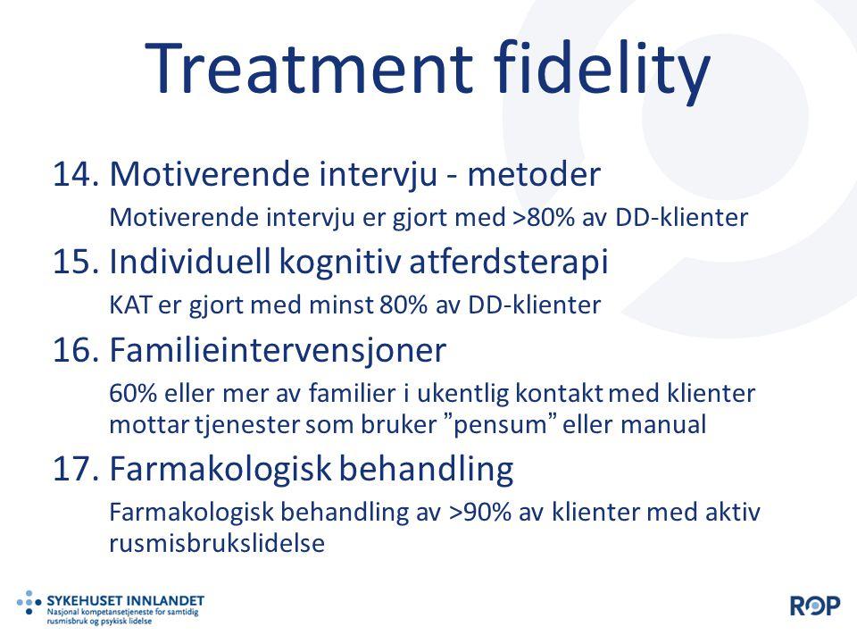 Treatment fidelity 14.Motiverende intervju - metoder Motiverende intervju er gjort med >80% av DD-klienter 15.Individuell kognitiv atferdsterapi KAT e