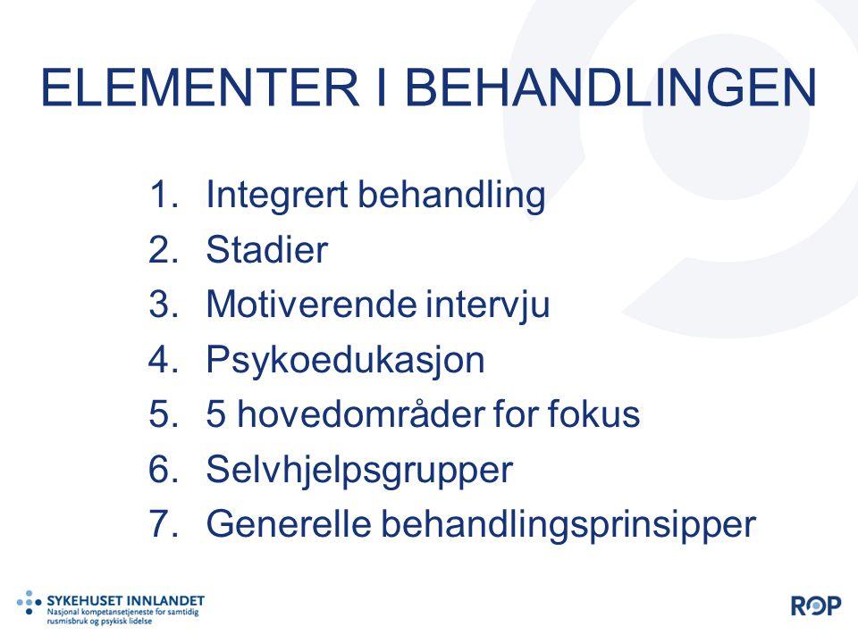 ELEMENTER I BEHANDLINGEN 1.Integrert behandling 2.Stadier 3.Motiverende intervju 4.Psykoedukasjon 5.5 hovedområder for fokus 6.Selvhjelpsgrupper 7.Gen