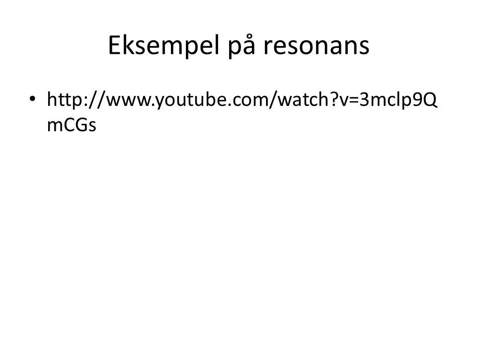 Eksempel på resonans • http://www.youtube.com/watch?v=3mclp9Q mCGs