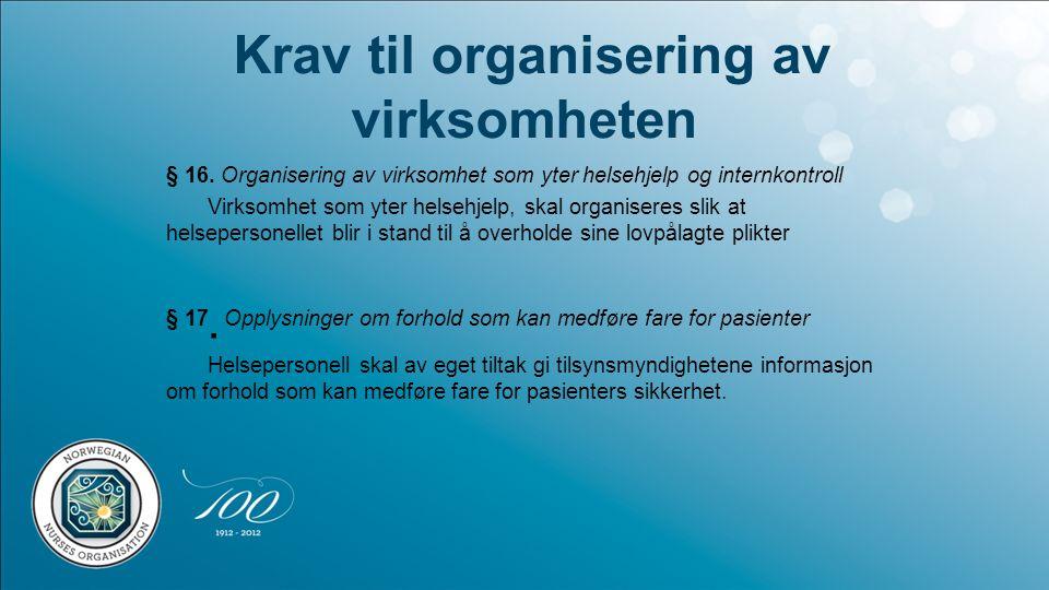 Krav til organisering av virksomheten § 16. Organisering av virksomhet som yter helsehjelp og internkontroll Virksomhet som yter helsehjelp, skal orga