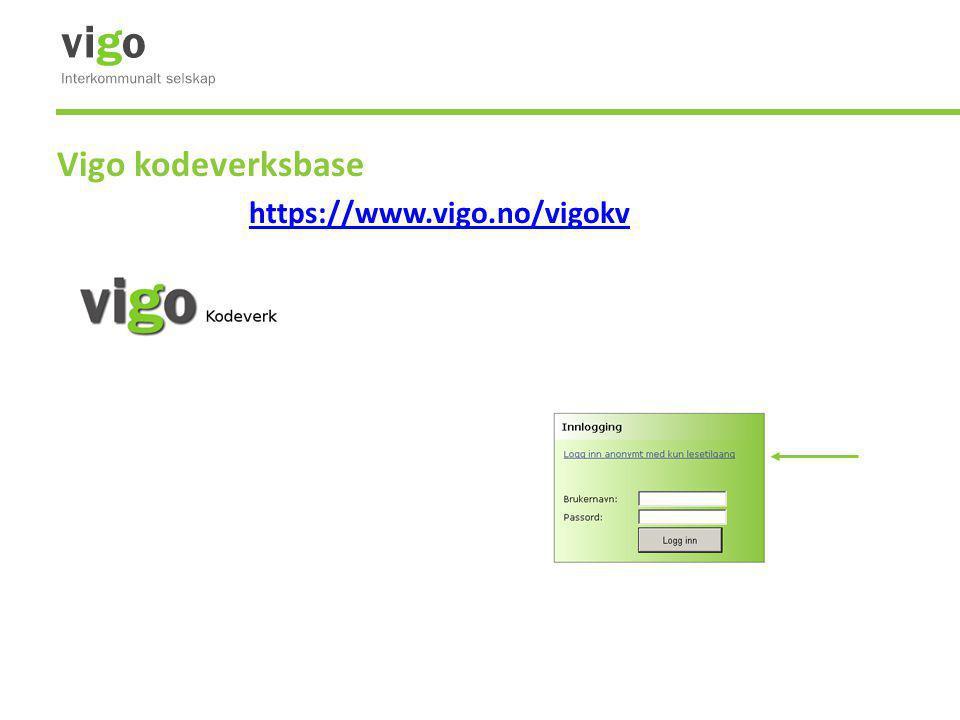 Vigo kodeverksbase https://www.vigo.no/vigokv