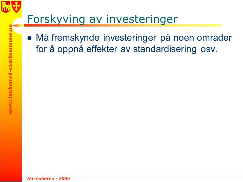 Ikt-enheten - 2005 www.innherred-samkommune.no Forskyving av investeringer  Må fremskynde investeringer på noen områder for å oppnå effekter av stand