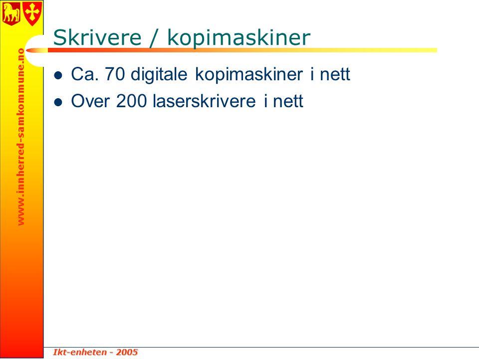 Ikt-enheten - 2005 www.innherred-samkommune.no Skrivere / kopimaskiner  Ca. 70 digitale kopimaskiner i nett  Over 200 laserskrivere i nett