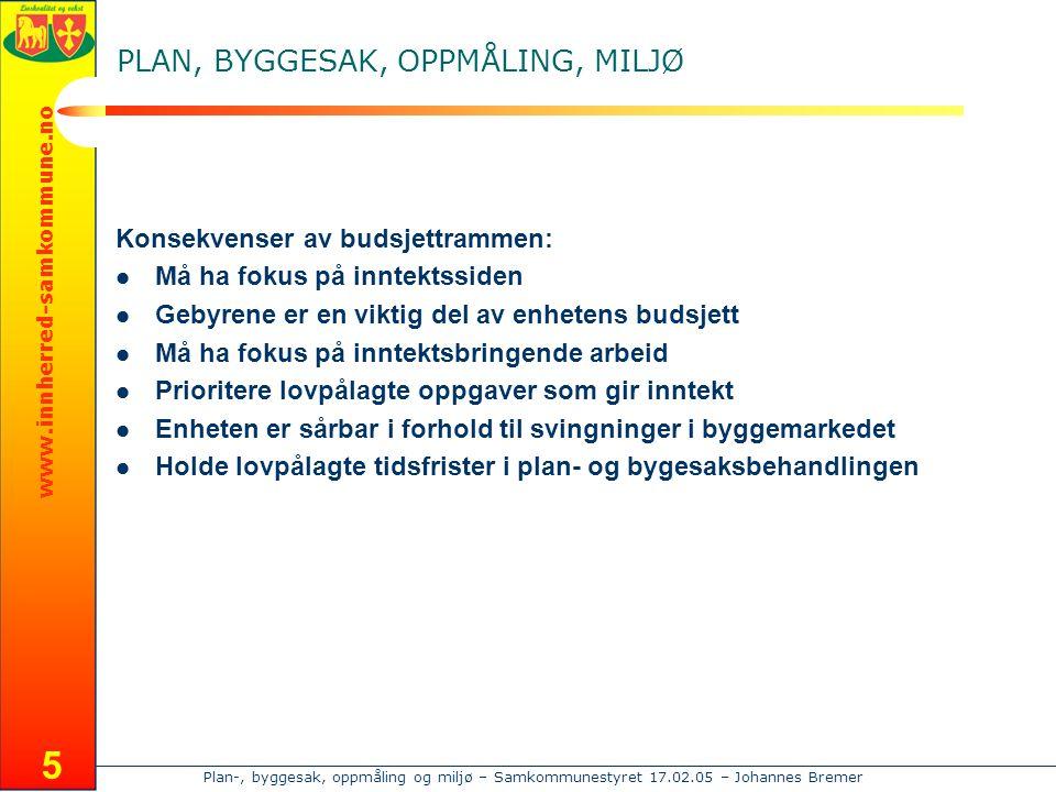 Plan-, byggesak, oppmåling og miljø – Samkommunestyret 17.02.05 – Johannes Bremer www.innherred-samkommune.no 6 PLAN, BYGGESAK, OPPMÅLING, MILJØ Hovedtall fra 2004: Levanger:  Administrative byggesaker :575  Delingssaker: 110  Saker til PUK:105  Behandlede planer:25 Verdal:  Administrative byggsaker :330  Delingssaker: 109  Saker til PUK:95  Behandlede planer :13 I tillegg kommer plan – og utredningsarbeid