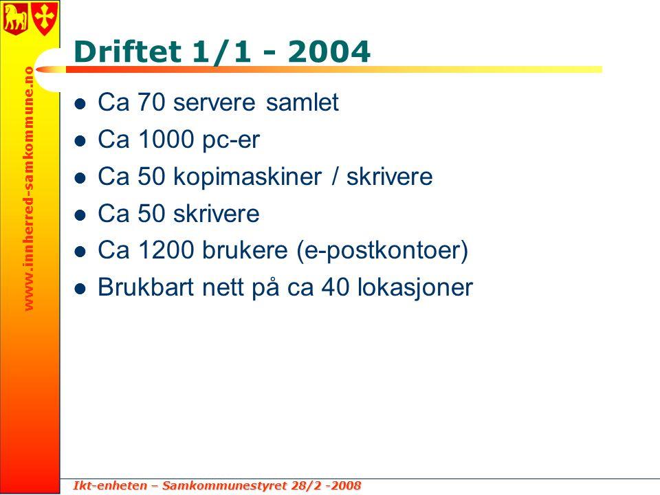 Ikt-enheten – Samkommunestyret 28/2 -2008 www.innherred-samkommune.no Driftet 1/1 - 2004  Ca 70 servere samlet  Ca 1000 pc-er  Ca 50 kopimaskiner / skrivere  Ca 50 skrivere  Ca 1200 brukere (e-postkontoer)  Brukbart nett på ca 40 lokasjoner