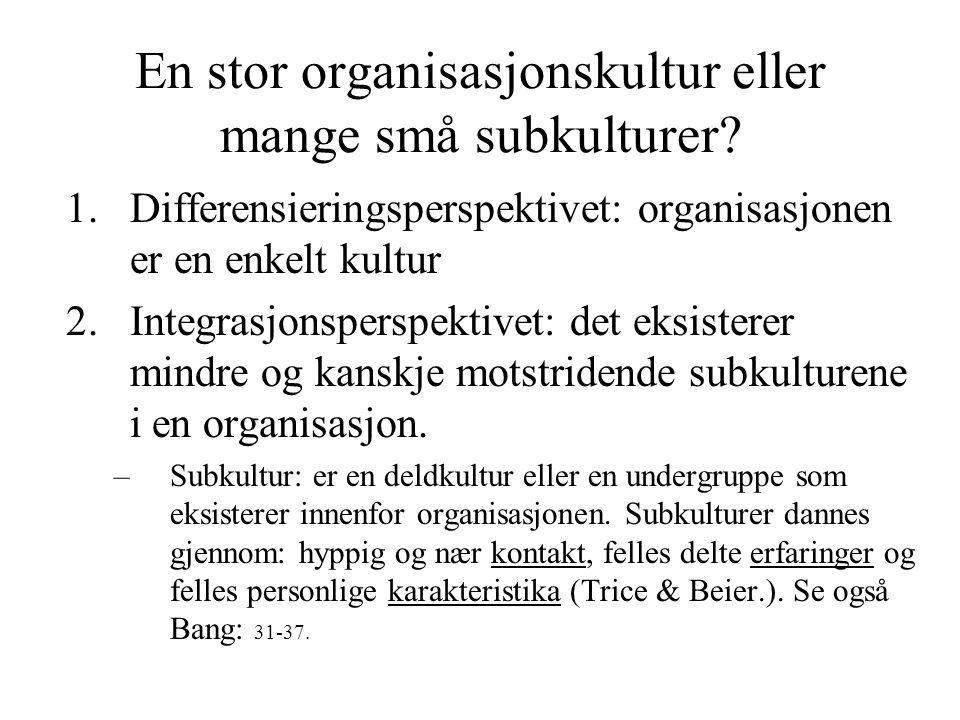 En stor organisasjonskultur eller mange små subkulturer? 1.Differensieringsperspektivet: organisasjonen er en enkelt kultur 2.Integrasjonsperspektivet